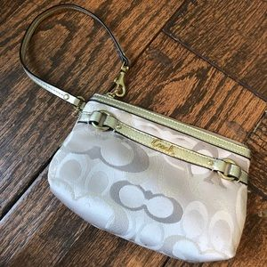 Cream Coach Wristlet (Never used without tags)